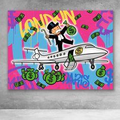 Monopoly Man Jet Graffiti Street Art Alec Monopoly Canvas Wall Art Diy Canvas Art, Canvas Artwork, Canvas Wall Art, Street Art, Street Signs, Art Sketches, Art Drawings, Monopoly Man, Handpoked Tattoo