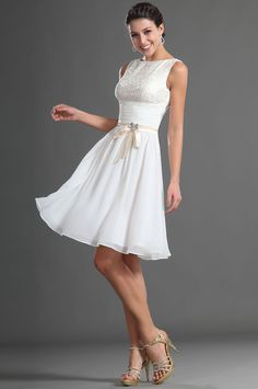 Modest white boat neck sleeveless lace bodice, above knee length a-line short chiffon skirt prom dress with ruched midriff.