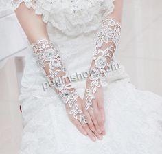 Brauthandschuhe, Spitze, mit Satinband, mit Strass, weiß, 300x140mm, 3Paar/Gruppe, verkauft von Gruppe - perlinshop.com