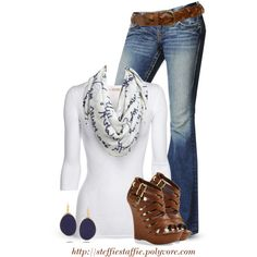 """""""Navy & White Printed Scarf"""" by steffiestaffie on Polyvore"""