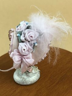 Pink Lace Princess Umbrella Dollhouse Miniature 1:12 Scale Fairy Doll Scene A
