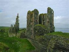 CLAN SINCLAIR  Girnigoe Castle of the Sinclair family in Caithness, Scotland.  Girnigoe Castle was built around the late 14th to early 15th centuries on a rocky promontory, and was defended on the landward side by great ditches, spanned by drawbridges