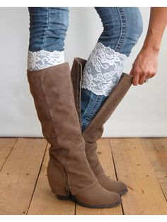 Stretch Lace Boot Toppers by ForTheLoveOfHobbies on Etsy https://www.etsy.com/listing/228397151/stretch-lace-boot-toppers