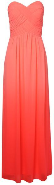 Jane Norman - Orange Ombre Pleated Maxi Dress-- elegant and classy. Possible bridesmaids dresses?