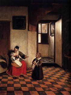 Pieter de Hooch - Vrouw met een baby op haar schoot, en een klein kind