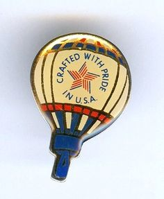 "Vintage 1980s ""Crafted with Pride in USA"" Hot Air Balloon Campaign Tie Tack Pin  $12.95"