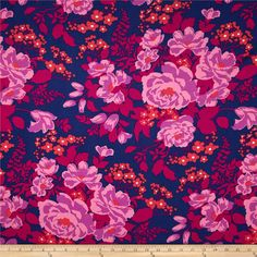 Joel Dewberry Flora Rayon Rose Bouquet Orchid from @fabricdotcom  Designed by Joel Dewberry for Free Spirit, this printed rayon challis fabric has a beautiful fluid drape and soft hand. It is perfect for creating shirts, blouses, gathered skirts and flowing dresses with a lining. Colors include poppy red, lilac pink, pink, magenta and navy.