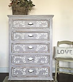 The Paloma Dresser with Old White hand drawn & painted details. Paint from the Annie Sloan line. See how on my website!