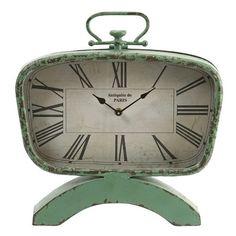 CC Home Furnishings Mint Green Retro-Style Roman Numeral Desk Clock. Philippe Starck, Clock Decor, Desk Clock, Wall Decor, Retro Clock, Vintage Clocks, Antique Clocks, Tabletop Clocks, Time Clock