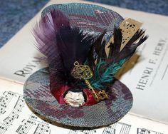 Tapestry steampunk mini top hat. Cosplay by DragonzWenchEmporium