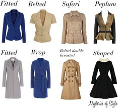 Jackets and coats for neat hourglass body shape