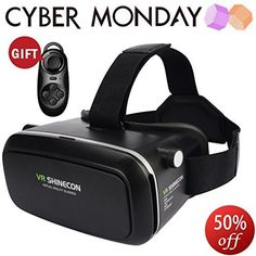 Amanstino Virtual Reality Glasses with Head-mounted Headband for Smartphones - Black Virtual Reality Glasses, Virtual Reality Headset, Vr Shinecon, Iphone 6, Amazon Advertising, 3d Glasses, Samsung, Diy Videos, Xbox One