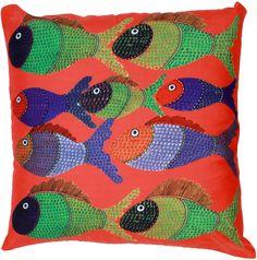 "Seascape View - 18 x 18"" #Multicolor Art #Pillow / #Cushion Cover - Decorative #Fish #Throw #Covers- Unique Home #Decor Ideas"