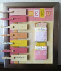 great DIY menu board--making dinner time much easier at a glance. Meal Planning Board, Craft Projects, Projects To Try, Menu Boards, Menu Planners, Organization Hacks, Organizing, Getting Organized, Diy And Crafts