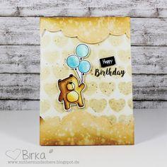 Mit Herz und Schere: Geburtstags-Karte mit Bär