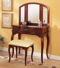 William's Home Furnishing Cherry Tri-mirror Vanity: This vanity set is a great addition to your bedroom or bathroom to create personal space. This vanity set features cherry finish, table with drawer, tri-folding mirror and coordinating stool. Vanity Table Set, Vanity Set With Mirror, Vanity Stool, Wood Vanity, Vanity Mirrors, Unique Ceiling Fans, Online Furniture Stores, My New Room, Decoration