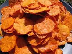 To make the chips, simply toss your thinly sliced veggies into a marinade of oil, salt and your favorite seasonings, spread these on teflex sheets, and dehydrate until crisp. Voila! Healthy chips 'a la raw'!