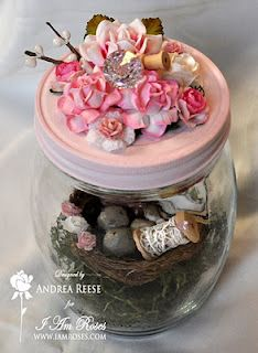 Whimsy Crafts - Creating with Love and Whimsy: Shabby Chic Altered Glass Jar