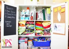 Inside the cabinet you'll find my sewing supply command center | Positively Splendid