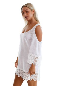 Trim Crinkle Cold Shoulder Beachwear will be perfect layered over any of your swimsuit. 1 Cover-Up Beachwear. Scoop neck, cold shoulder and lace crochet trim. This Lacy Crochet. Cold shoulders and lacy crochet trim! Sexy Beach Wear, Beach Wear Dresses, Tankini, Beachwear For Women, Crochet Trim, Swim Dress, White Fashion, Swagg, Couture