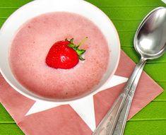 Nyers vegán eperleves 2 adag - NAGYON JÓ Paella, Grapefruit, Cantaloupe, Watermelon, Vegan Recipes, Pudding, Cooking, Healthy, Desserts