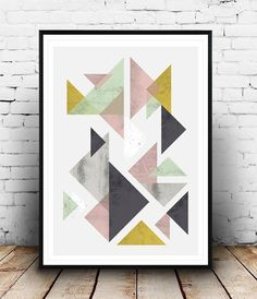 Geometric poster, Triangles abstract, watercolor abstract, minimalist art, Scandinavian print, Abstract wall art, pastel colros print Dimensions