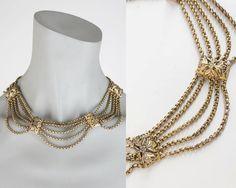 Vintage 40s Necklace / 1940s Brass Multi Chain Bib Necklace by FloriaVintage on Etsy