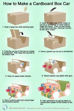 """to build a cardboard car.Perfect for our """"Drive-In Movie"""" Night!How to build a cardboard car.Perfect for our """"Drive-In Movie"""" Night! Projects For Kids, Diy For Kids, Crafts For Kids, Car Crafts, Children Crafts, Movie Crafts, Kids Fun, Craft Activities"""