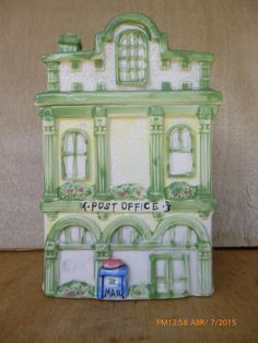"""Vintage Collectible Ceramic Cookie Jar/ Canister  - Town Post Office Building 9"""""""