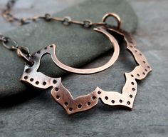 Petite Copper Lotus Necklace // hand forged by LostSparrowJewelry