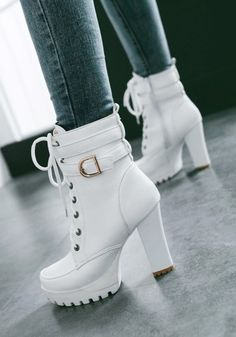 White Lacing With Belt Block Heel Platform High Heel Boots .- Weiß Schnürung Mit Gürtel Blockabsatz Plateau High Heel Stiefeletten Elegante… White Lacing With Belt Block Heel Platform High Heel Ankle Boots Elegant Women Winter Shoes Short Ankle Boots - Knee High Stiletto Boots, Platform High Heels, High Shoes, White High Heels, Platform Ankle Boots, Ankle Boot Heels, High Heel Tennis Shoes, High Heels For Kids, Heeled Boots