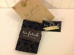 Damask black and grey pocket square with options by TieFetish,
