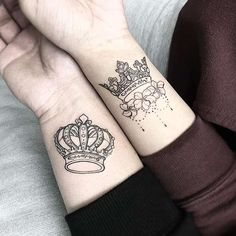 30 Top Design Ideas For Couple King And Queen Tattoos Peace Tattoos, One Word Tattoos, Red Tattoos, King Tattoos, White Tattoos, Arrow Tattoos, Crown Couple Tattoo, Queen Crown Tattoo, Small Couple Tattoos