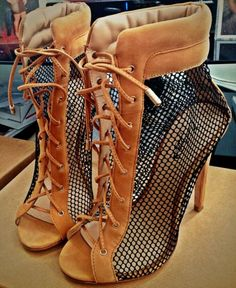Two toned net ankle booties
