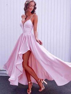 long prom dresses - Simple pink v neck long prom dress, pink evening dress Pretty Prom Dresses, Simple Prom Dress, High Low Prom Dresses, Hoco Dresses, Cheap Prom Dresses, Homecoming Dresses, Pink Dresses, Short Pink Prom Dresses, Dress Prom