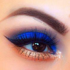 Cute eye make up Makeup Goals, Makeup Inspo, Makeup Tips, Beauty Makeup, Makeup Ideas, Makeup Hacks, Blue Eyeshadow, Eyeshadow Makeup, Eyeliner
