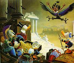 Donald Duck and Uncle Scrooge - Menace Out Of Myth by Carl Barks Disney Duck, Disney Mickey, Disney Art, Disney Pixar, Walt Disney, Illustrations, Illustration Art, Comic Books Art, Comic Art