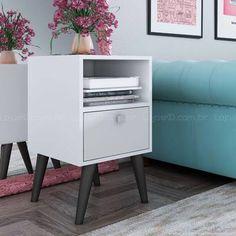 Criado-mudo/Mesa de Canto/Lateral com pés palito BPP 01 Branco/Pinhão - BRV Móveis