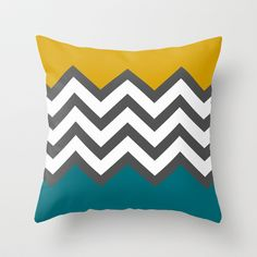 Color Blocked Chevron Throw Pillow by josrick mustard cushions and throws. Mustard Sofa, Mustard Bedroom, Mustard Cushions, Mustard Bedding, Yellow Throw Pillows, Yellow Cushions, Cushions On Sofa, Gold Cushions, Couch Sofa