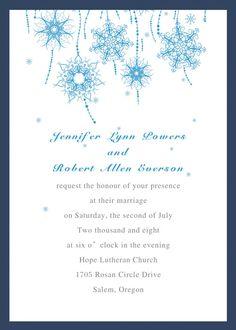 blue snowflake winter wedding invitations