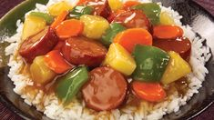 Eckrich smoked sausage, pineapple, carrots and vegetables in a sweet and sour sauce