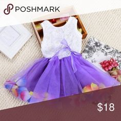 """🆕 Beautiful Baby/Toddler Dress NEW Baby/Toddler Dress in purple and white or hot pink and white.  Size M/8 is for 1-2 years old. Measurements as follows : M/8 - chest:   44cm/17.3""""    Shoulder: 19cm/7.48""""        Length: 43cm/16.93"""" Dresses"""