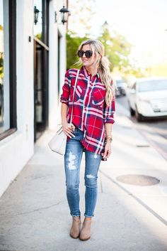 Classic red plaid top + distressed Jeans + perforated booties for fall.
