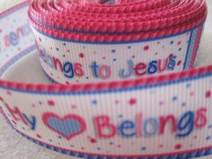 7/8''  22mm My Heart Belongs to Jesus Grosgrain by CraftierSide