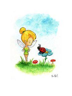 Tinkerbell makes a new friend Watercolor Print by BenByrdArtwork