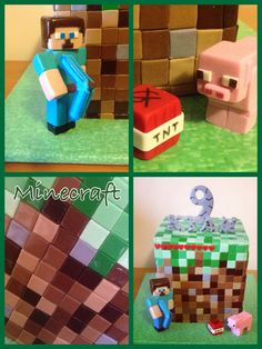 Minecraft cake ... Got some boys that would love this one