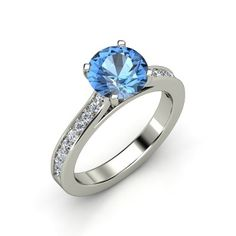 Round Blue Topaz 14K White Gold Ring with Diamond | Faye Ring (8mm gem) | Gemvara