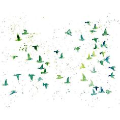 flock birds -Watercolor-bird painting-Archival Print from my original... ($35) ❤ liked on Polyvore featuring home, home decor, wall art, backgrounds, birds, butterflies, effects, animals, doodles and fillers