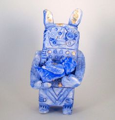 Blue robot mom with baby by Kelly Newcomer on Etsy,