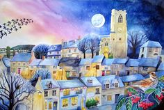 Midwinter village: An English village at dusk. It's time to head home for tea. The street lights are coming on and a big moon hangs in the sky behind the church tower.